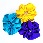 Load image into Gallery viewer, scrunchie set hair accessories yellow purple blue pure silk large size handmade by Lynne Kiel