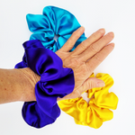 Load image into Gallery viewer, Pure silk scrunchies for hair yellow purple blue colors handmade by Lynne Kiel