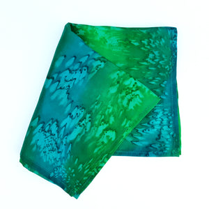 painted silk pocket square green made in Canada