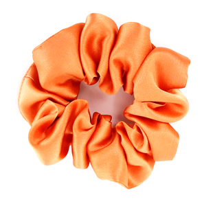 orange satin large size scrunchie hair accessory for exercise