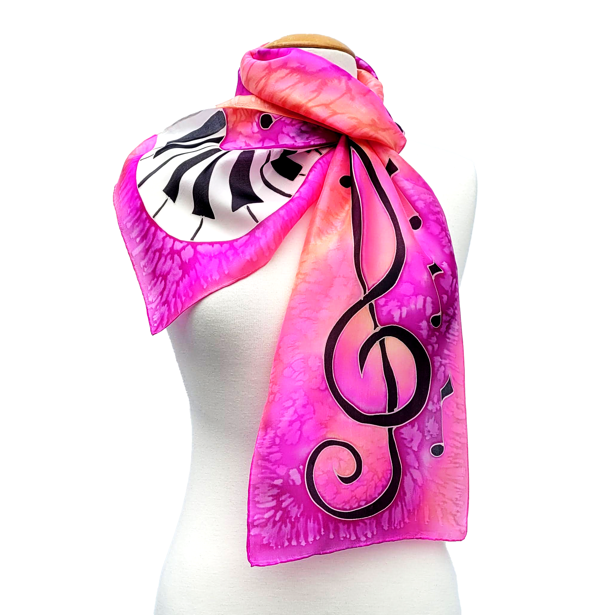 hand painted silk scarf pink piano design art made by Lynne Kiel