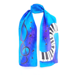 Load image into Gallery viewer, PIANO SILK SCARF Treble clef & Music PAINTED SILK  Rainbow Pink Blue