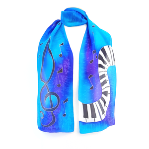 PIANO SILK SCARF Treble clef & Music PAINTED SILK  Rainbow Pink Blue