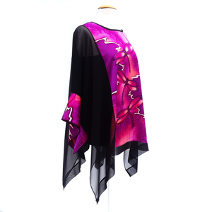 Plus size ladies fashion long top hand painted black and pink silk caftan by Lynne Kiel