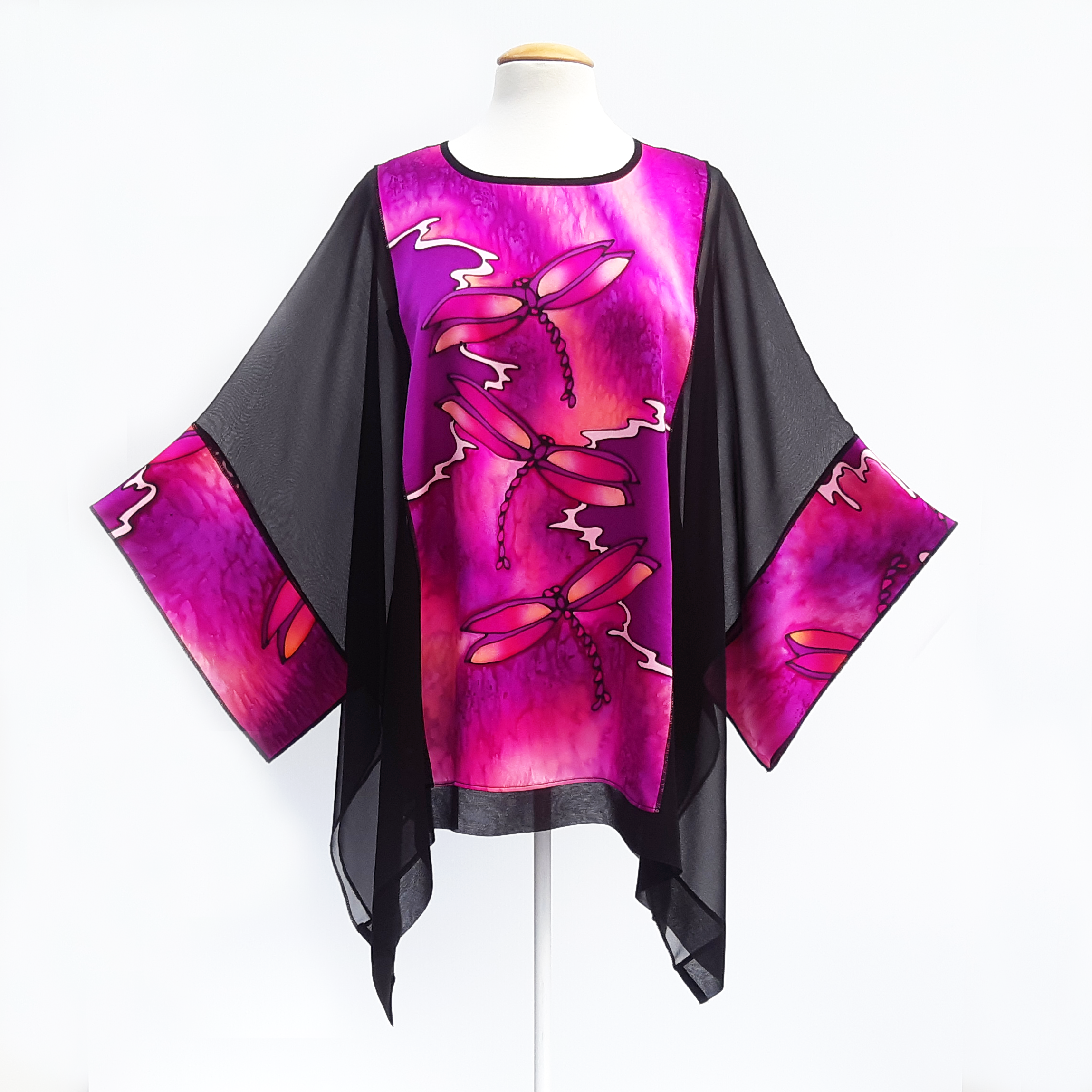 black silk long caftan top for women hand painted pink dragonflies made by Lynne Kiel