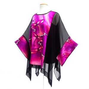 one size dragonfly caftan top hand painted black and pink silk made by Lynne Kiel