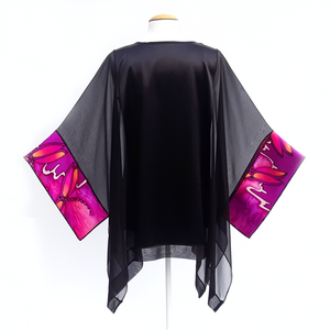 design silk caftan top for women one size painted silk pink and black for cruise wear and wedding outfit