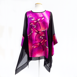 one size black caftan top pink dragonfly black silk  hand painted art made by Lynne Kiel