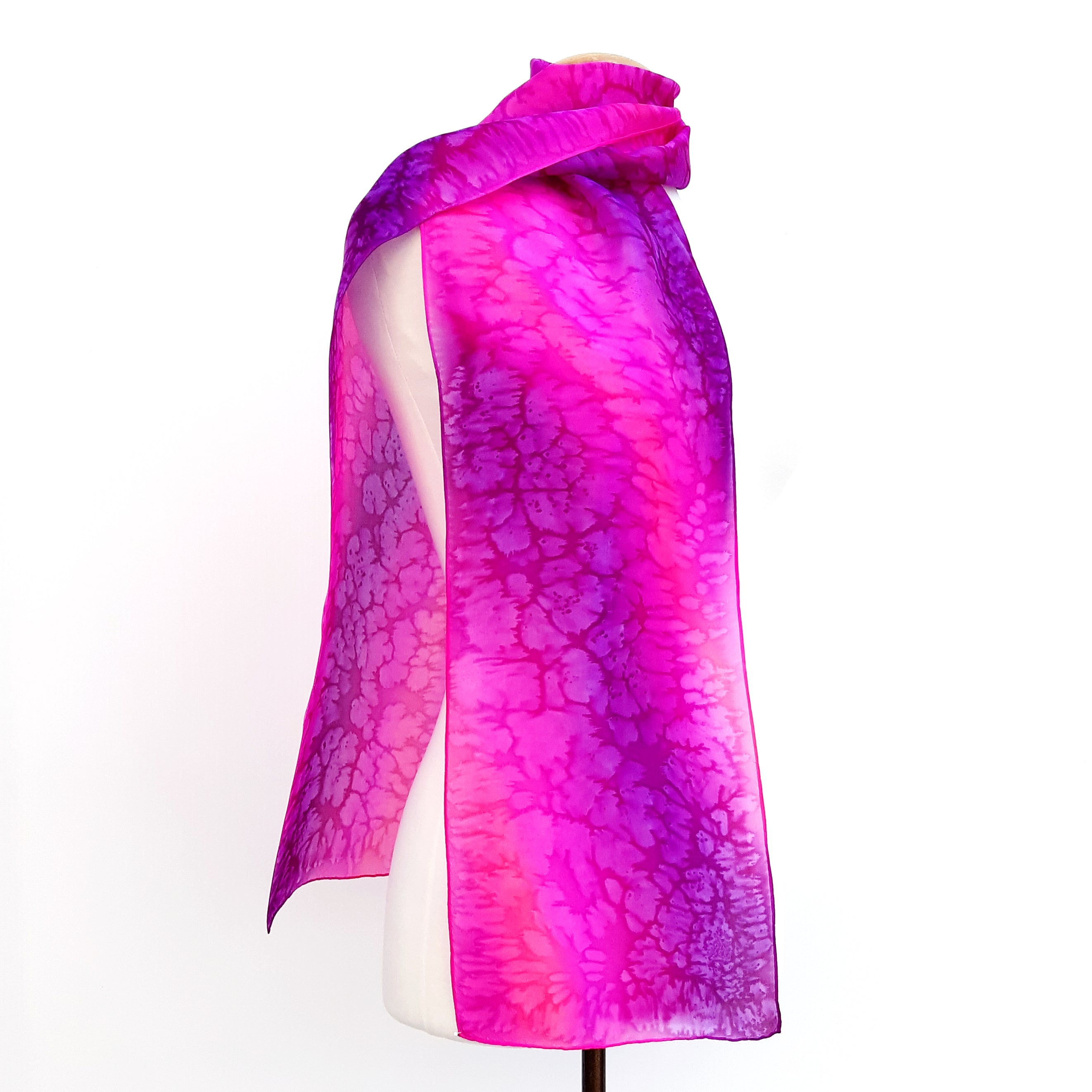 painted silk long scarfs purple pink color