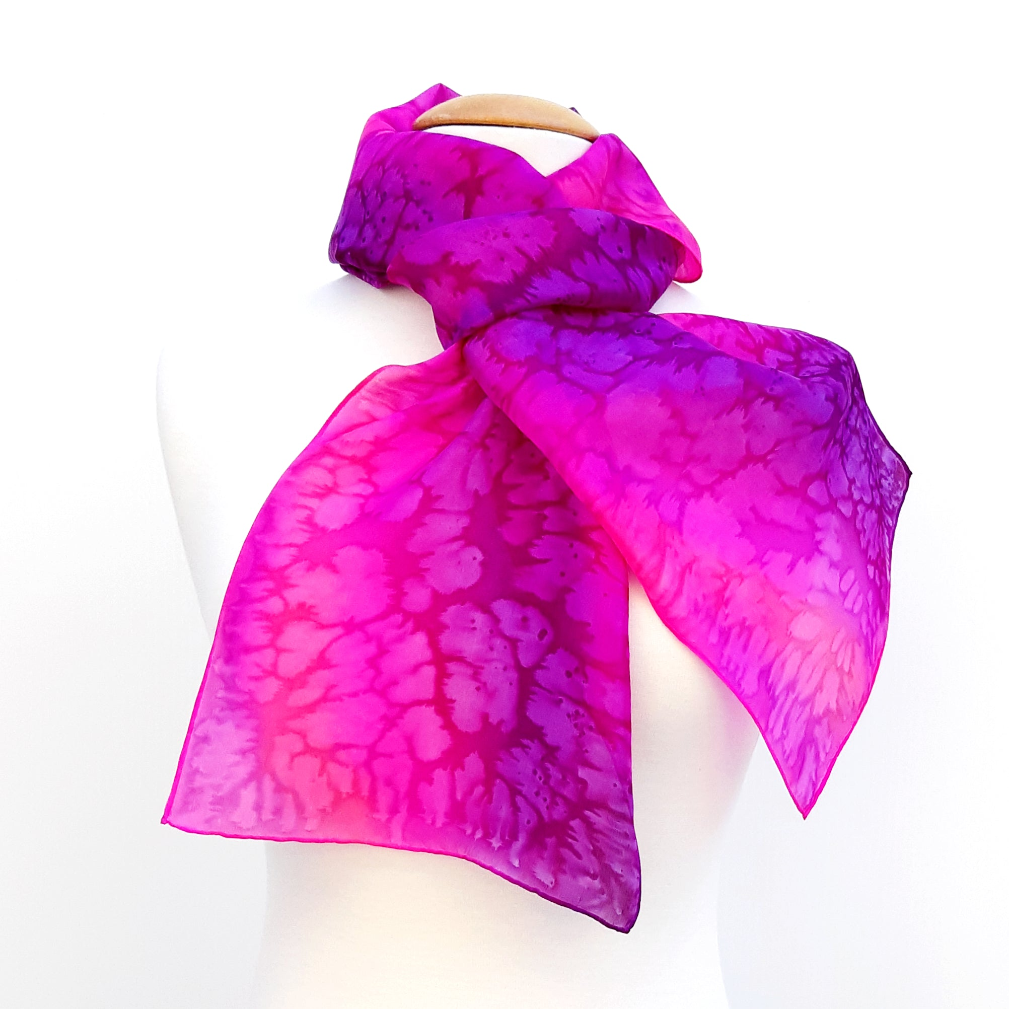 painted silk pink scarves made in Canada