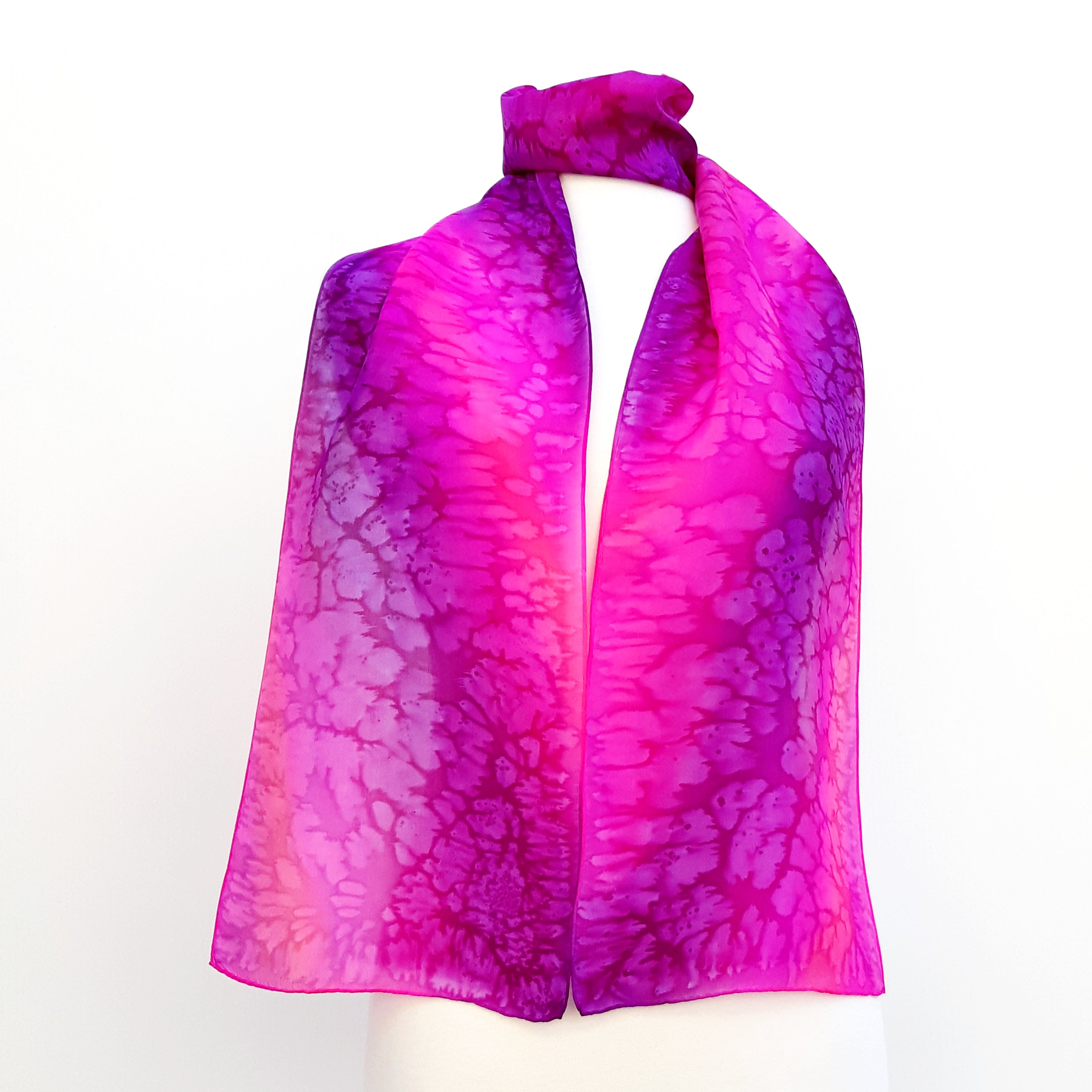 pink purple painted silk long scarf