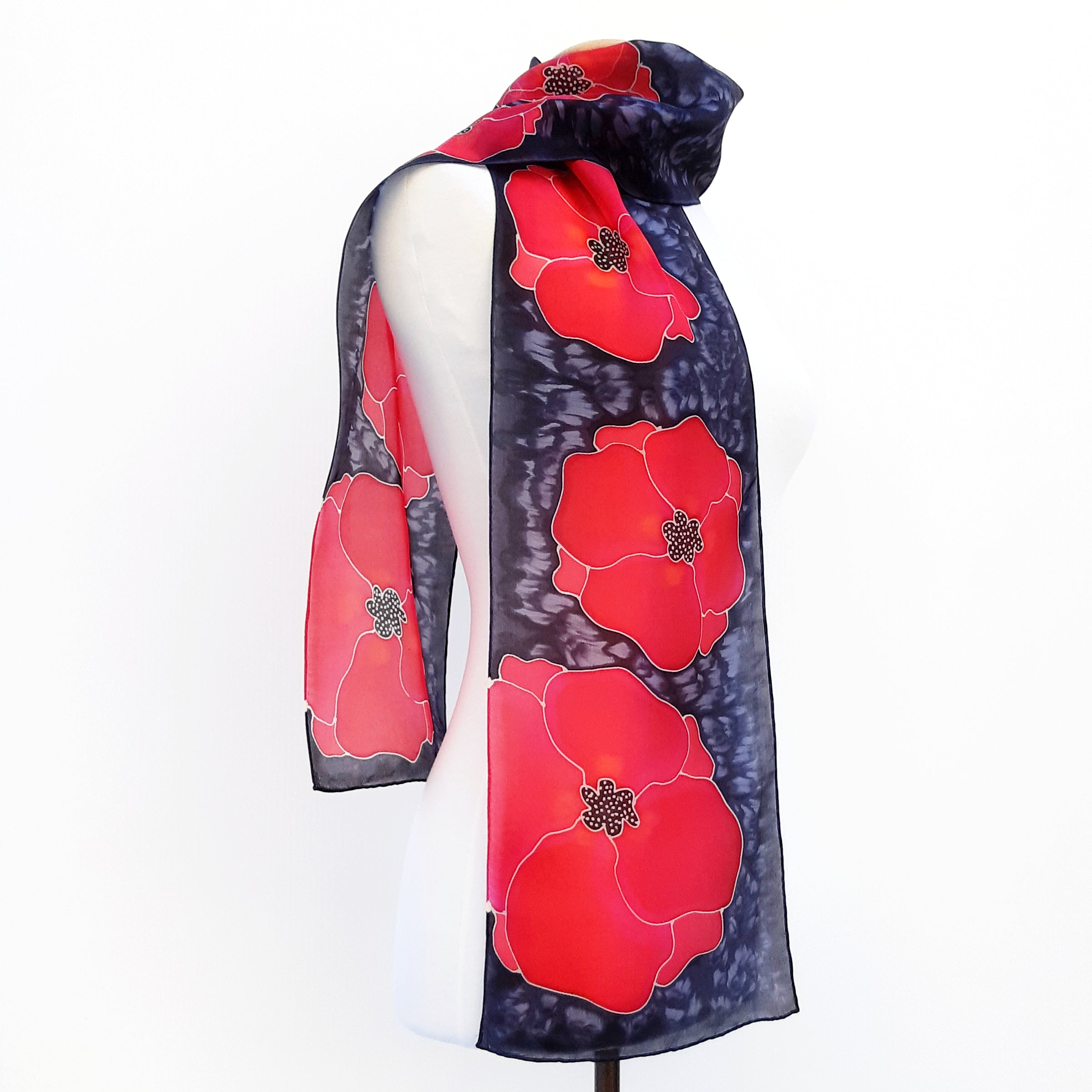 Painted silk remembrance day poppy scarf