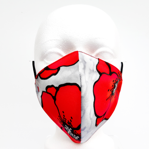 POETIC RED POPPIES Hand Painted Silk Fabric Mask Washable