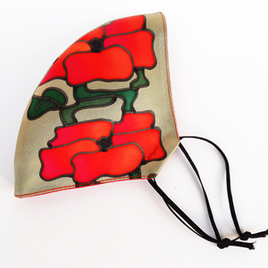 red poppy design mask