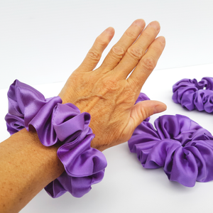large and small size scrunchie hair accessories handmade in Canada