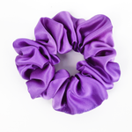 Load image into Gallery viewer, Purple large silk satin scrunchie hair accessory made in Canada