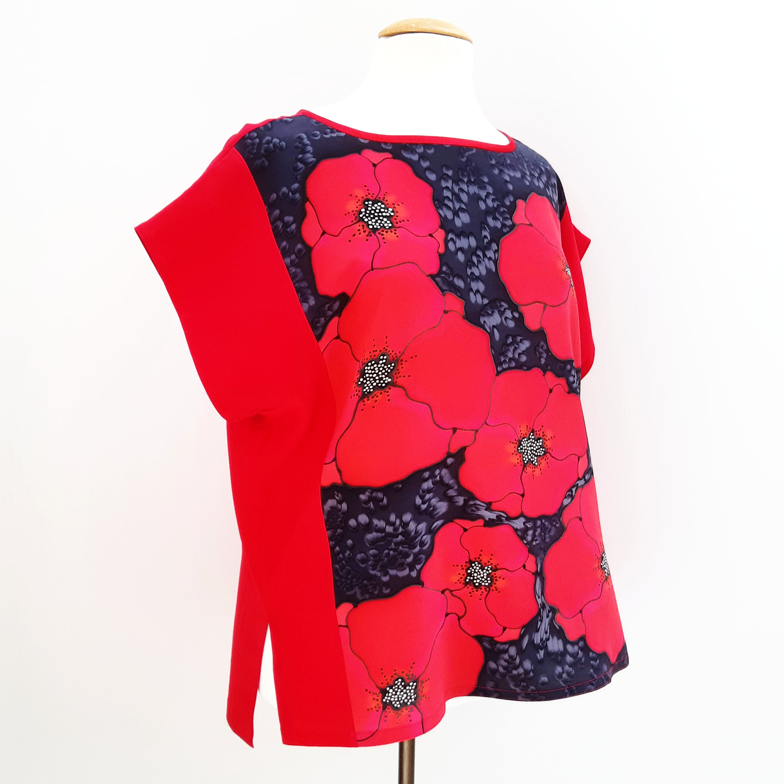 painted silk top for women red