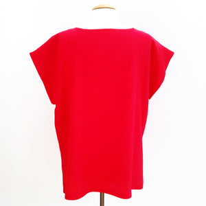 painted silk ladies t top red