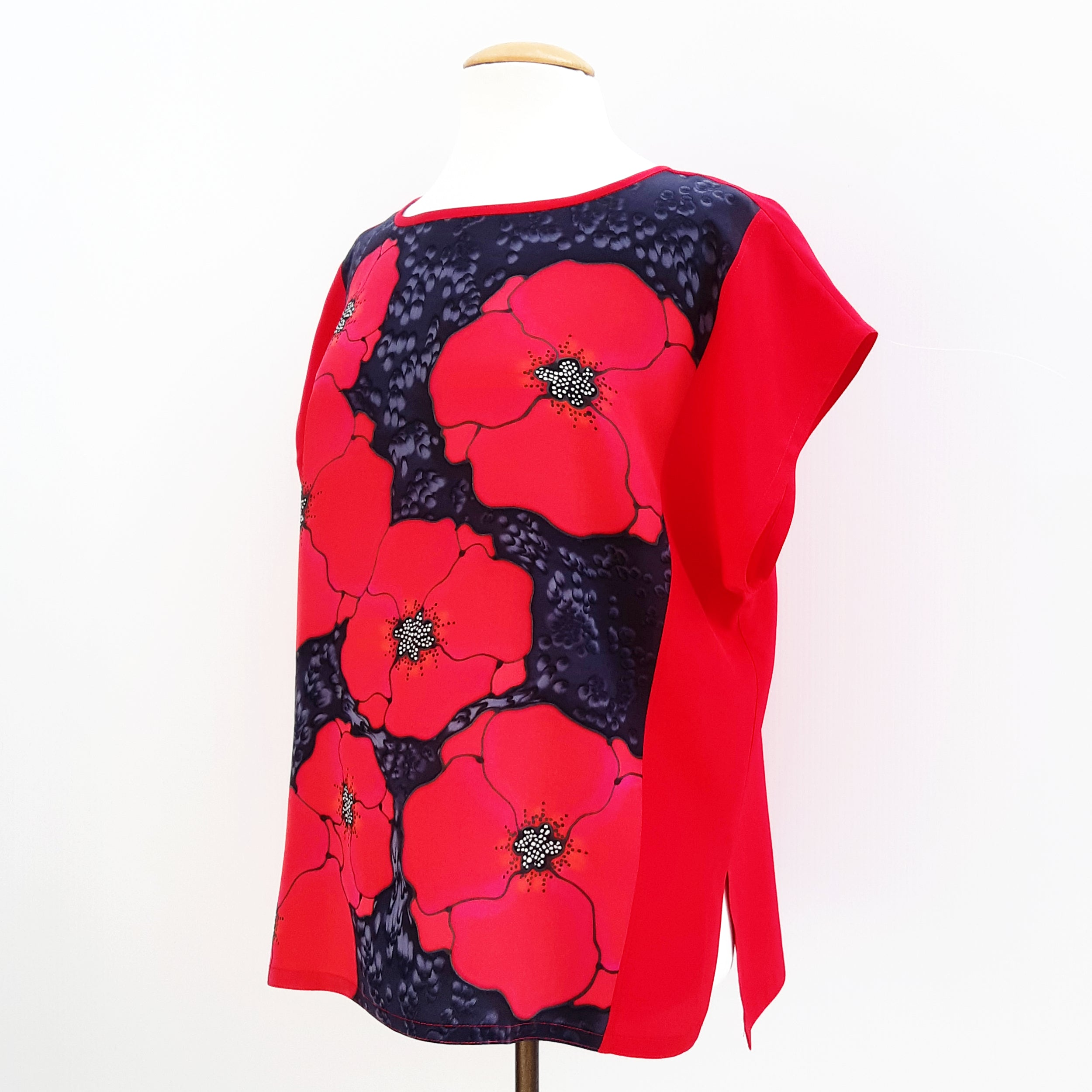 painted silk shirt for women red