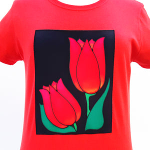 red tulip cotton t-shirt for women