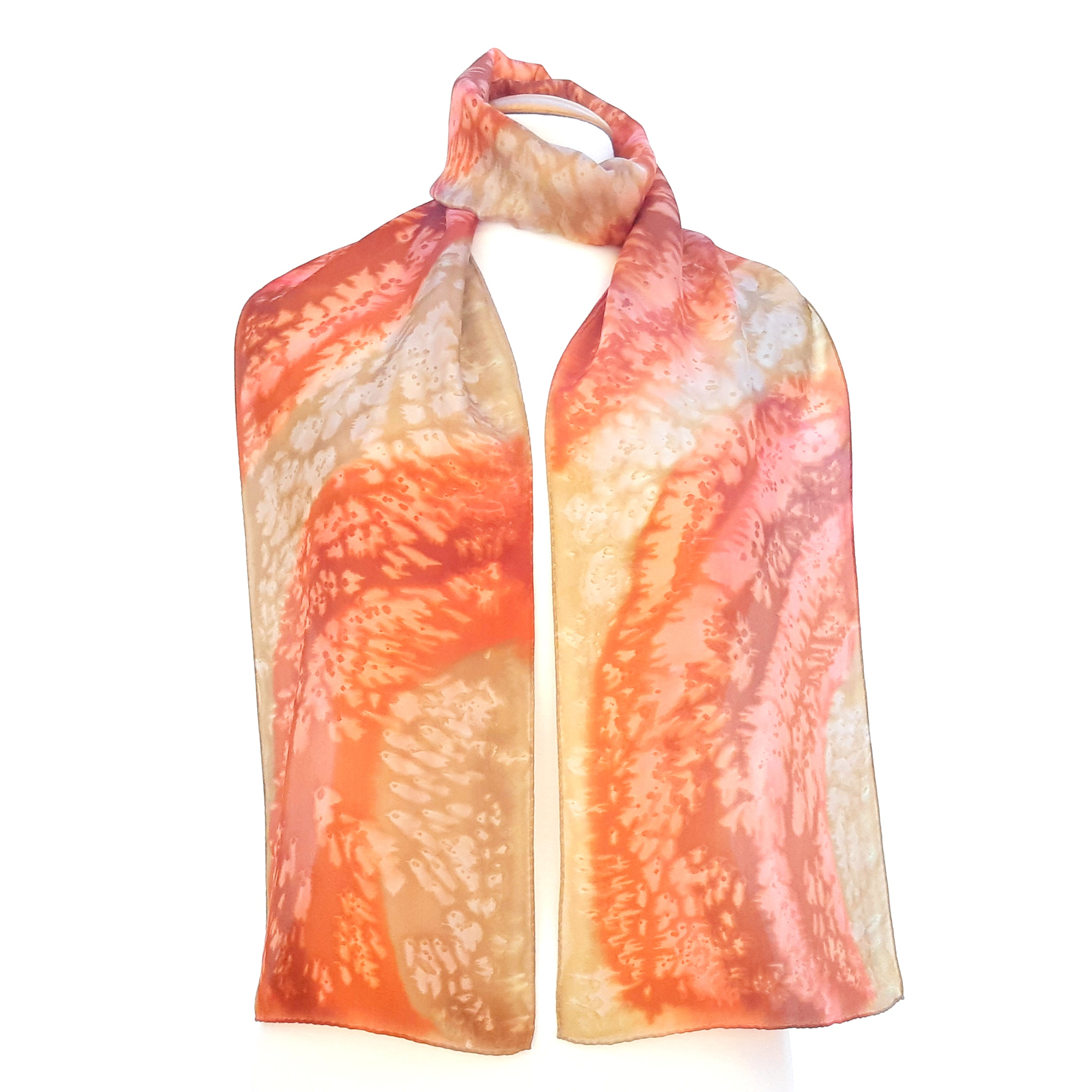 Painted silk long scarves Orange