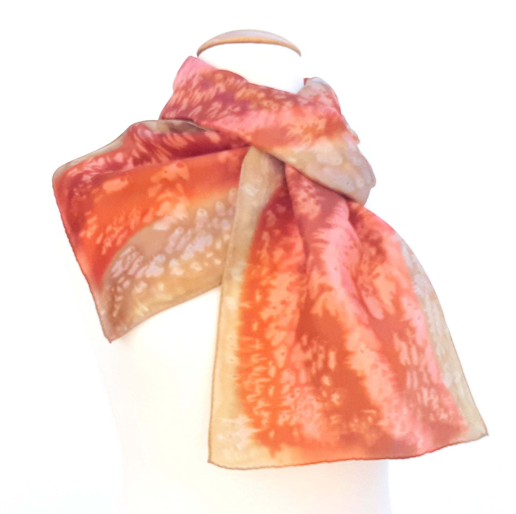 painted silk design scarves orange beige  color