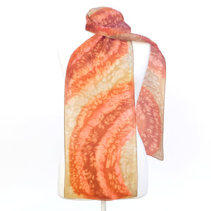 painted silk long scarves orange beige