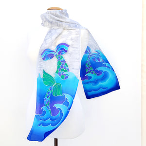 painted silk scarf for women Lynne Kiel design silk scarf