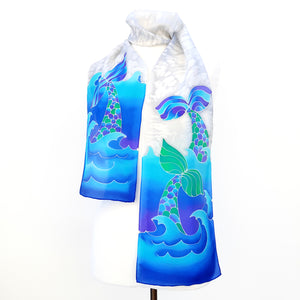 painted silk scarf for women
