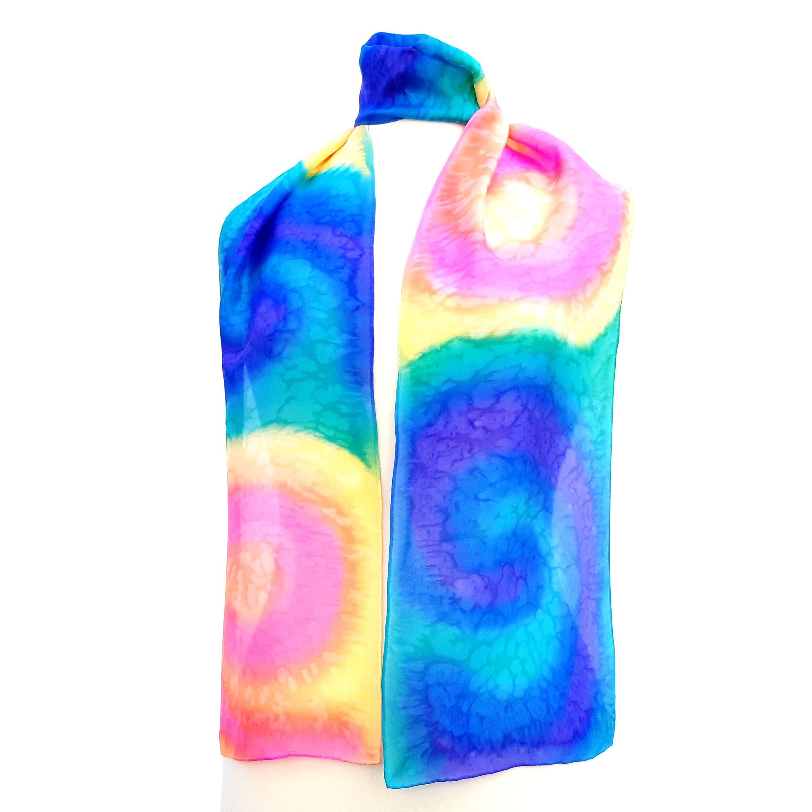 painted silk design scarves blue pink color