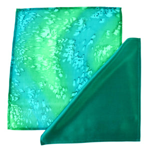 painted silk green pocket scarf for men