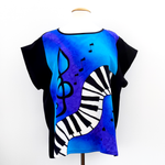 Load image into Gallery viewer, PIANO MUSIC TOP Blue Purple Cyan HAND PAINTED Pure Silk T-Top