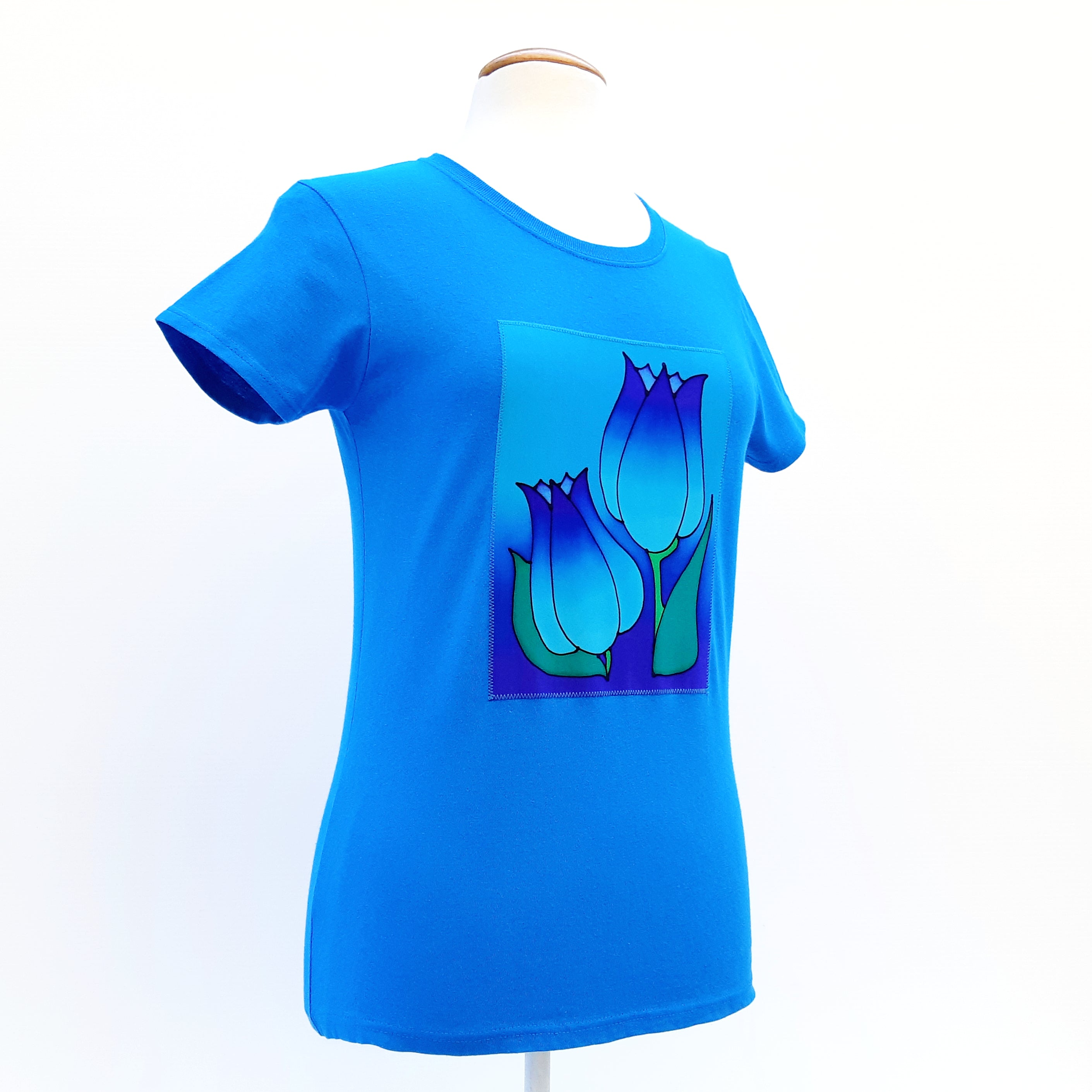blue cotton semi fitted t-shirt for women
