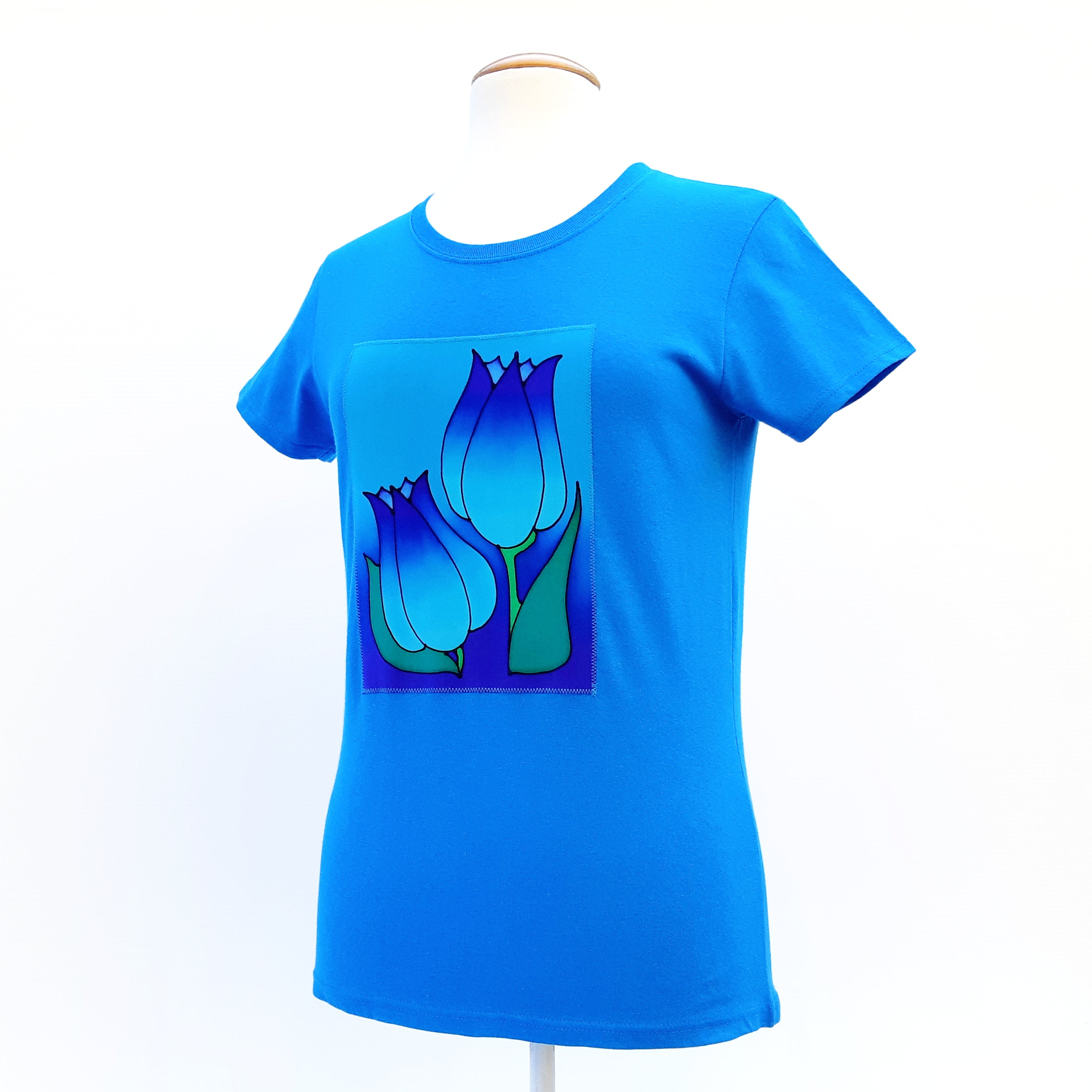 100% cotton  blue  t-shirt for ladies