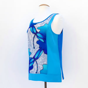 painted silk tank top blue
