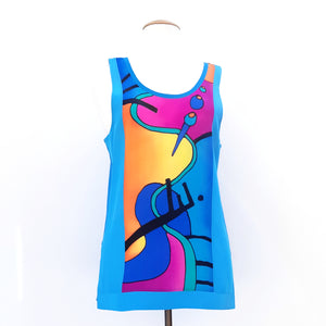 painted silk blue tank top