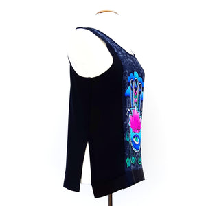 painted silk black tank top