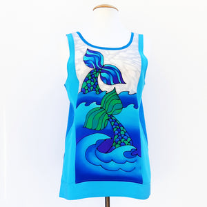 painted silk blue tank top for women