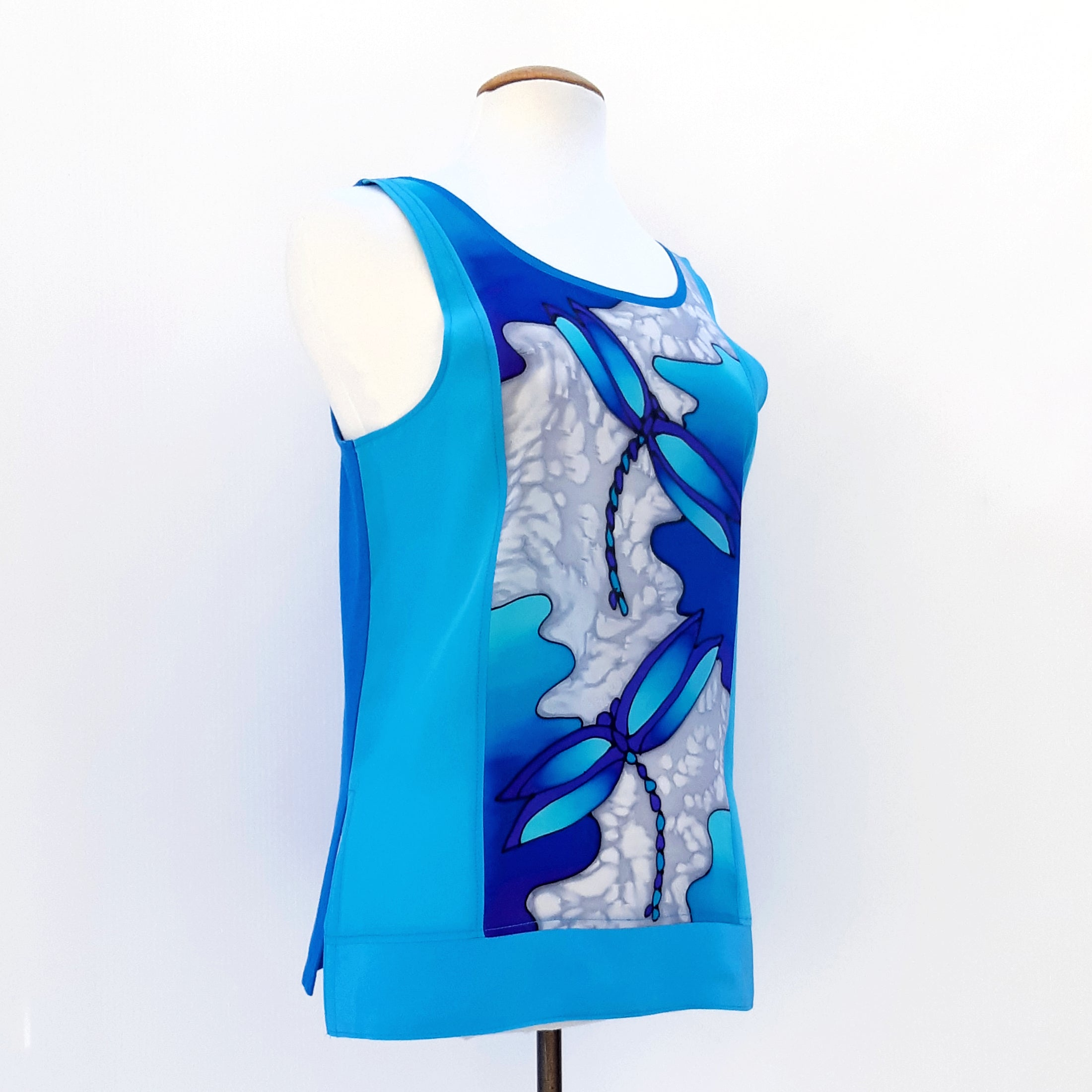 painted silk ladies tank top blue