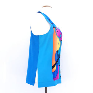 painted silk and cotton tank top blue