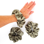 Load image into Gallery viewer, jumbo beige satin silk scrunchie for pony tail and hair