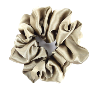 oyster beige pure silk satin scrunchie for hair