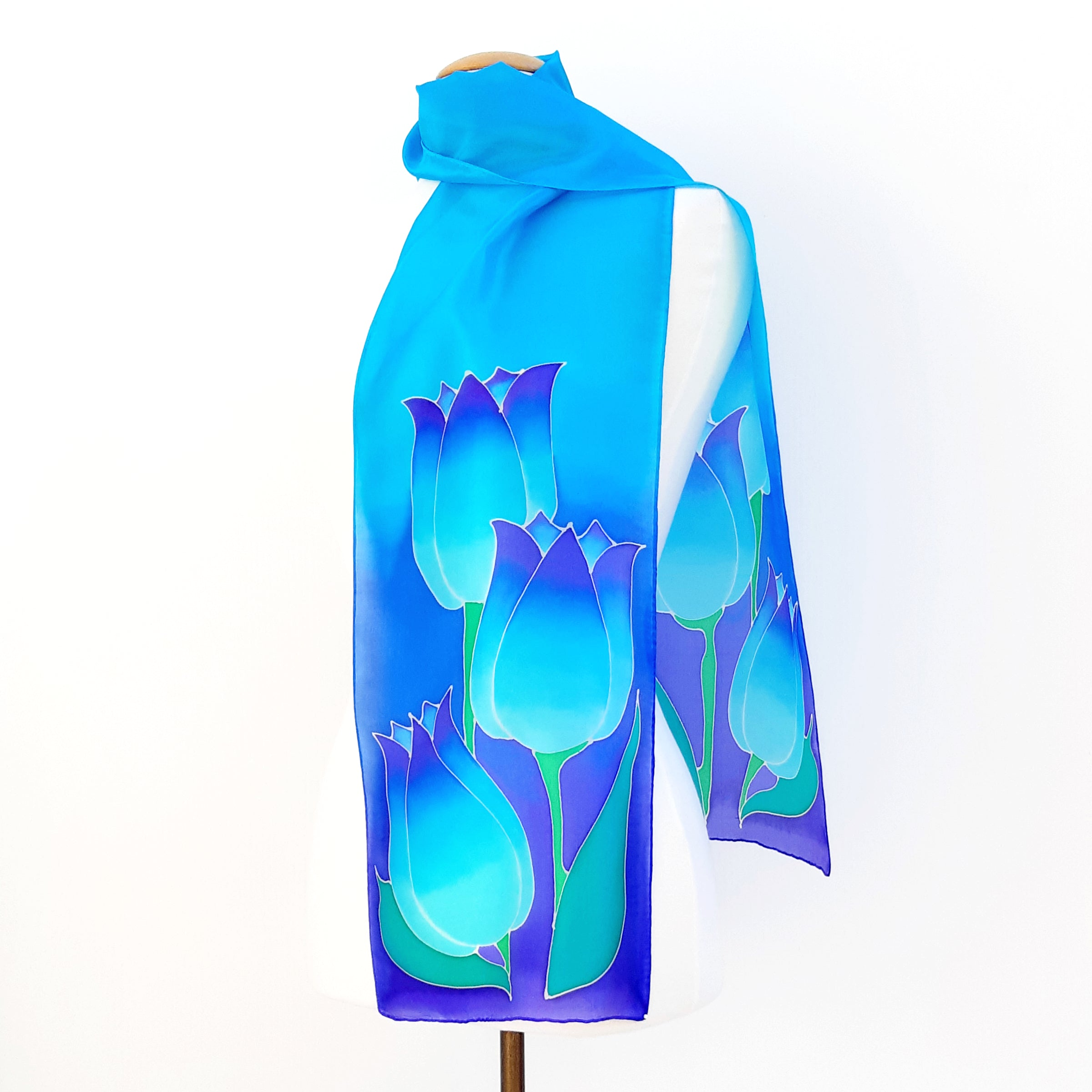 painted silk scarves fashion blue tulips