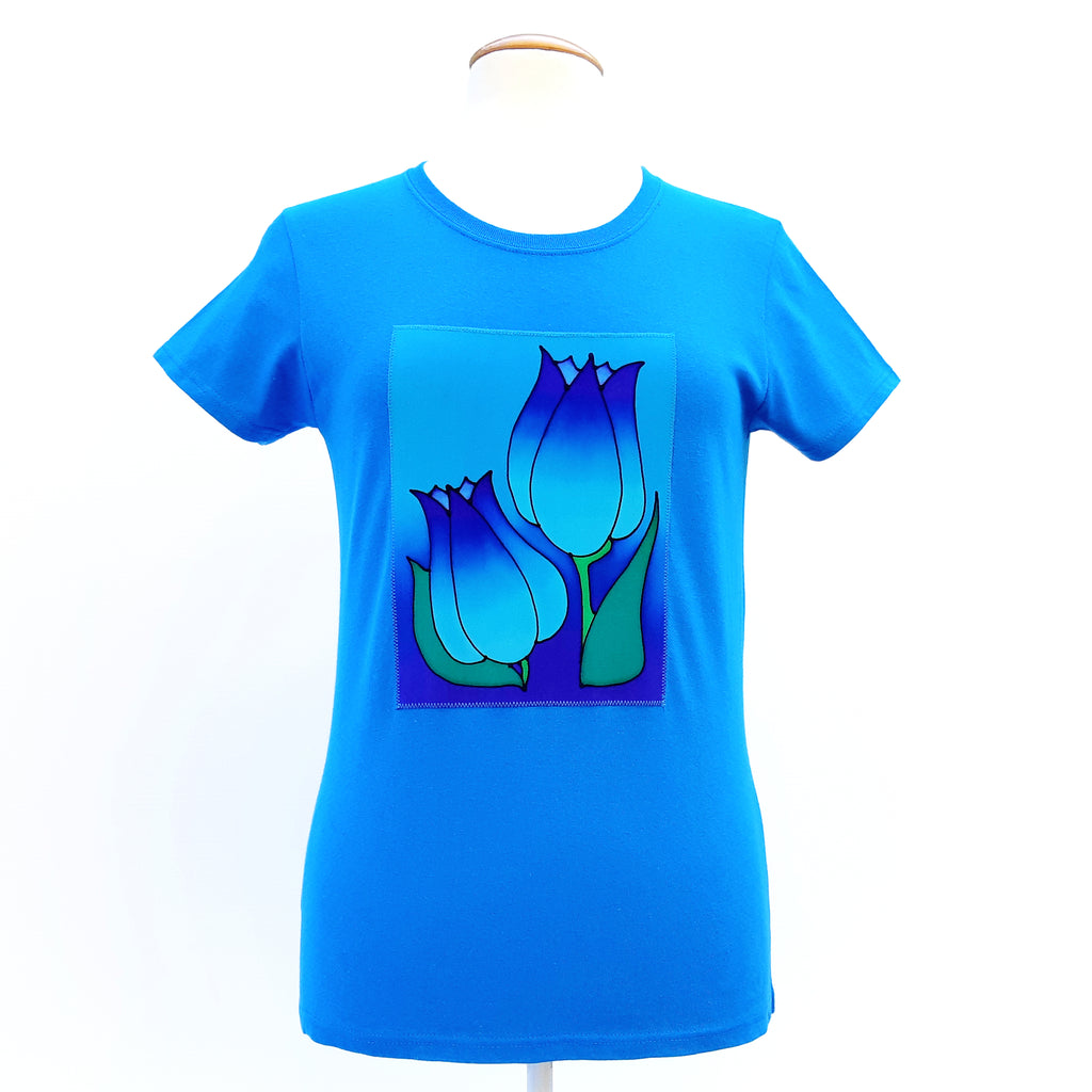 tulip art t-shirt turquoise blue hand painted