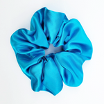 Load image into Gallery viewer, Hair accessory  ponytail tie blue silk satin scrunchie handmade in Canada by Lynne Kiel