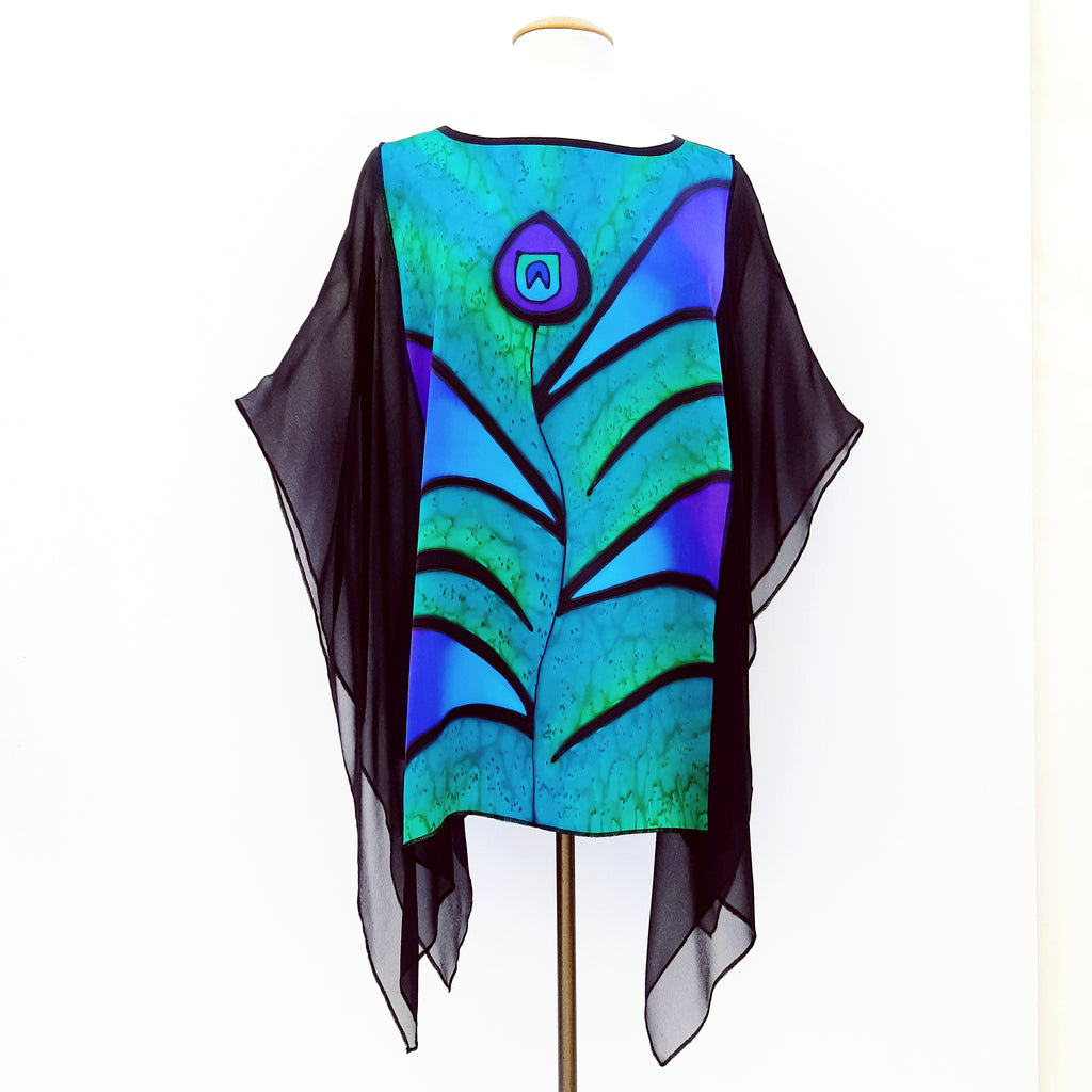 Painted silk green top poncho