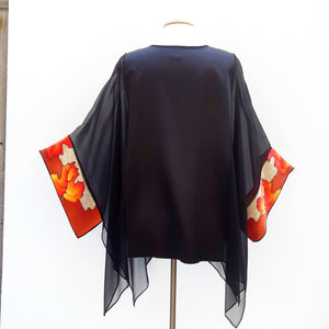 painted silk sheer black top one size