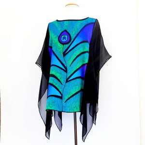 poncho top green silk