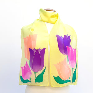 PAINTBOX TULIPS Pastel Green Pink Purple Yellow PAINTED SILK SCARF