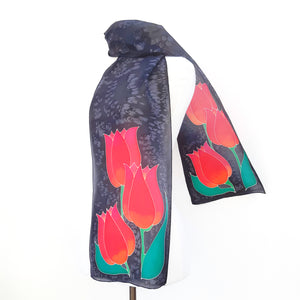 long scarves painted silk red tulips